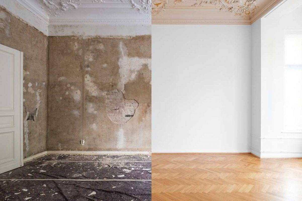 stanza ristrutturata eliminando la muffa dai muri prima e dopo