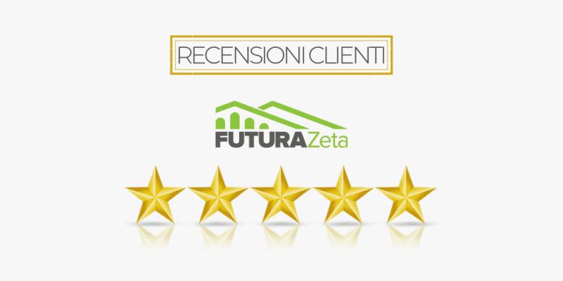Recensioni clienti FuturaZeta con stelline e logo